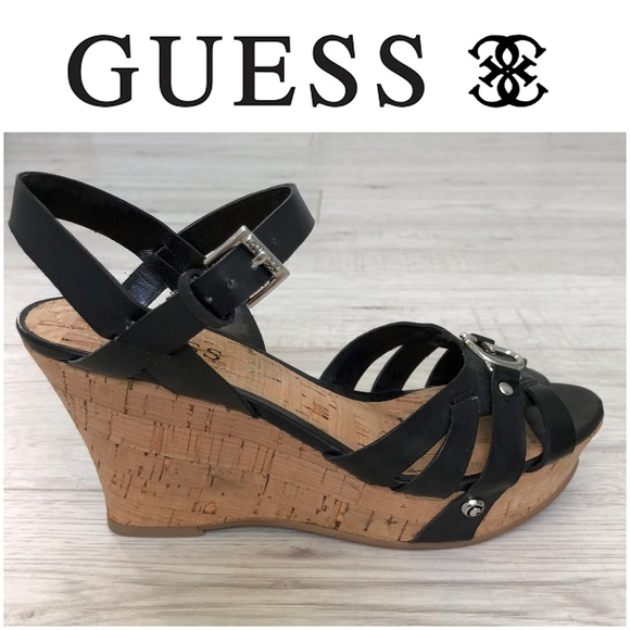 fa8389652fee Guess Shoes - GUESS Black Strappy Cork Wedge Sandals